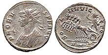 Moneta dell'imperatore Marco Aurelio Probo (ca. 280), con Sol Invictus alla guida di una quadriga, con iscrizione SOLI INVICTO,