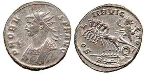 Probus (emperor) - Antoninianus of Probus minted in 280. Depicts the solar divinity Sol Invictus riding a quadriga. Probus issued many different coins during his six years of rule.