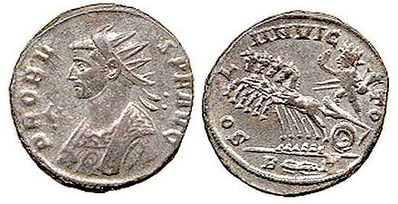 "Coin of Emperor Probus, c. 280, with Sol Invictus riding a quadriga, with legend SOLI INVICTO, ""to the Unconquered Sun"": the Emperor (at left) wears a radiated solar crown, worn also by the god on the obverse ProbusCoin.jpg"