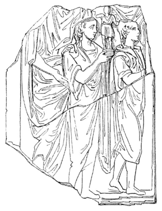 Marcus Marius Gratidianus - This drawing of a fragmentary bas-relief  depicting the Compitalia shows the kind of images honored at street shrines (compita)