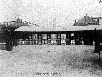 Pullman Company - Entrance gates to the company's Calumet Works, circa 1900