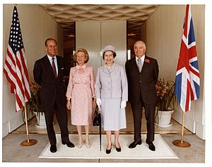 Sunnylands - Queen Elizabeth II and Prince Phillip visit Walter and Leonore Annenberg at Sunnylands, February 1983.