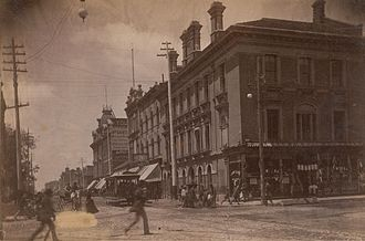 Queen Street (Toronto) - Looking west along Queen Street from Yonge Street, circa 1885