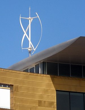 Microgeneration - A small Quietrevolution QR5 Gorlov type vertical axis wind turbine in Bristol, England. Measuring 3 m in diameter and 5 m high, it has a nameplate rating of 6.5 kW to the grid.