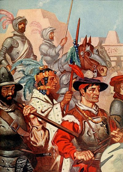 Conquistadors and their Tlaxcalan allies enter Tenochtitlan ROHM D201 The conquistadors enter tenochtitlan to the sounds of martial music.jpg