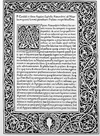Appian - Appian: Historia Romana. Printed in Venice 1477 by Erhard Ratdolt