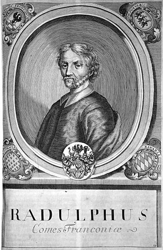 Rudolf I (bishop of Würzburg) - Engraving from Würzburg court and university engraver Johann Salver (born 1670 in Forchheim; died 1738) from the series of Würzburg prince-bishops