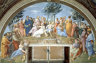Poetry - The Parnassus (1511) by Raphael: famous poets recite alongside the nine Muses atop Mount Parnassus.