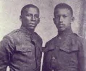 Rafael Hernández Marín - Rafael Hernández (left) with his brother Jesús during World War I, c. 1917.