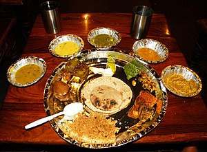 Vegetarianism and religion - A vegetarian thali from Rajasthan, India. Since many Indian religions promote vegetarianism, Indian cuisine offers a wide variety of vegetarian delicacies