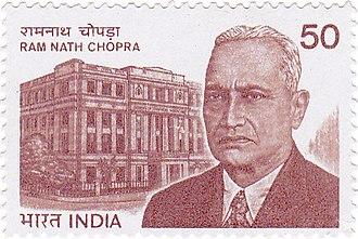 Ram Nath Chopra - Image: Ram Nath Chopra 1983 stamp of India