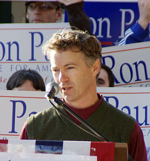 Ron Paul's son, Rand, speaking at a Ron Paul R...