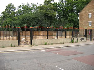 St Agnes Place - The site of the Rastafarian Temple in July 2007, now marked with green, yellow and red coloured railings