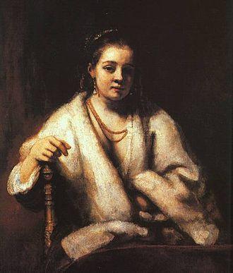 Hendrickje Stoffels - Portrait of Hendrikje Stoffels, c.1654-6, oil on canvas, 101.9 x 83.7 cm; National Gallery, London