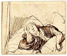 A Woman Lying awake in Bed
