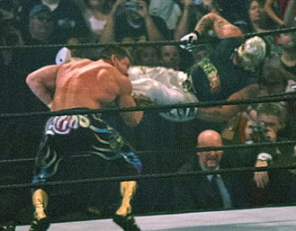 "History of professional wrestling - Rey Mysterio hitting the ""619"" on Eddie Guerrero"