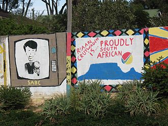 Proudly South African - A graffito linking newsreader Riaan Cruywagen to the ideals of the Proudly South African initiative