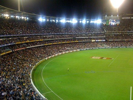 """The man who sold out the MCG"": Cousins' AFL return helped break the attendance record for a Richmond versus Carlton match. Richmond Carlton MCG 2009.jpg"