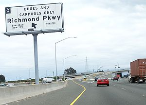 Richmond Parkway (California) - An interstate 80 exit onto the Richmond Parkway at its eastern most terminus