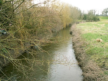 The river to the south of Mytton Bridge, just before it joins the River Severn