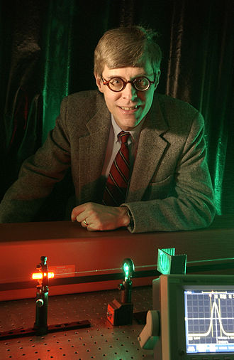 Robert W. Boyd - Dr. Robert Boyd with his slow light in ruby experiment.