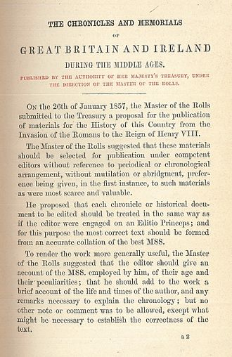 Rolls Series - First page of the statement of intent published as a preamble to all Rolls Series volumes, dated December 1857