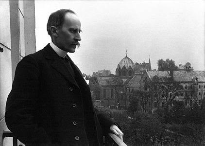 Romain Rolland on the balcony of his home