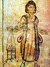 Fresco of a servant in the Roman Tomb of Silistra
