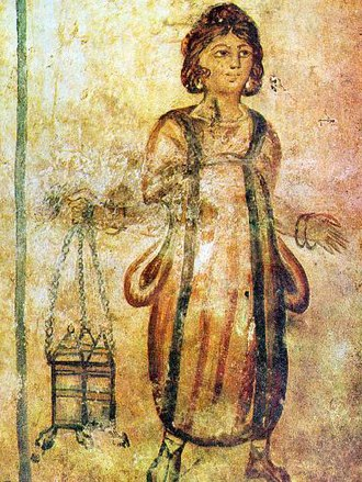 Roman Tomb (Silistra) - A fresco portraying a female servant carrying gifts to the master's family