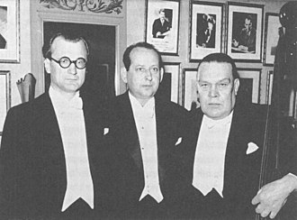 Eduard Tubin - Conductor Olav Roots, Eduard Tubin and double-bassist Ludvig Juht in Stockholm Concert Hall in 1947.
