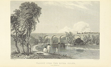 The new railway line opened in 1837 approached Watford over the River Colne on a viaduct (Thomas Roscoe, 1839) Roscoe L&BR(1839) p073 - Viaduct over the River Colne near Watford.jpg