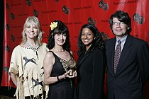 Rosie Flores and the crew of Whole Lotta Shakin' at the 67th Annual Peabody Awards.jpg