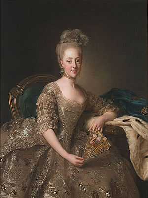 1774 in Sweden - Hedvig Elisabeth Charlotte of Holstein-Gottorp, shortly after her wedding. Portrait by Alexander Roslin, 1774.