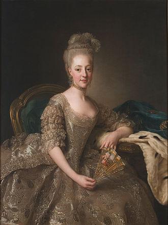 Hedvig Elisabeth Charlotte of Holstein-Gottorp - Hedvig Elisabeth Charlotte, Duchess of Södermanland. Portrait by Alexander Roslin, 1774.