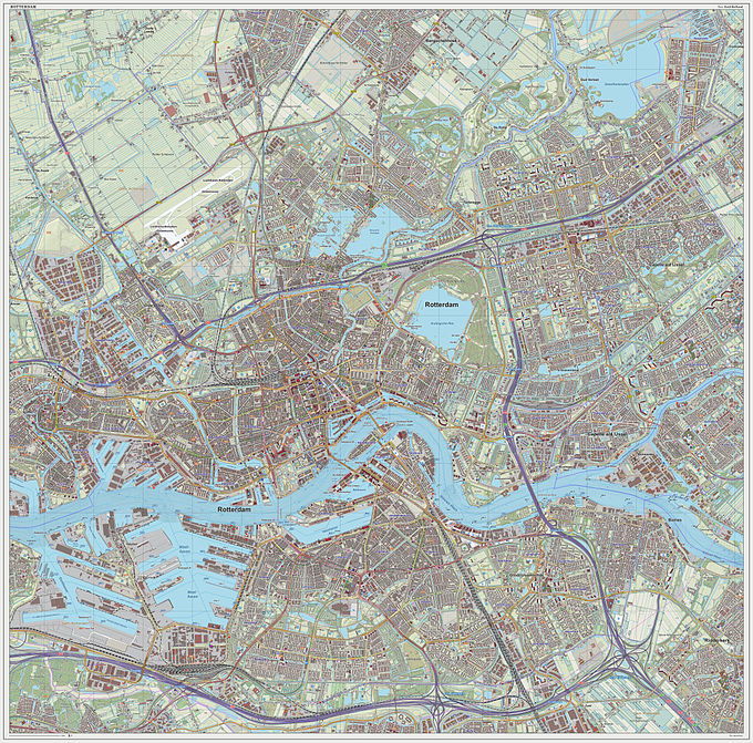 Topographic map image of Rotterdam (city), as of Sept. 2014 Rotterdam-plaats-OpenTopo.jpg