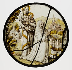 Roundel with Virgin and Child and a Carmelite Donatrix