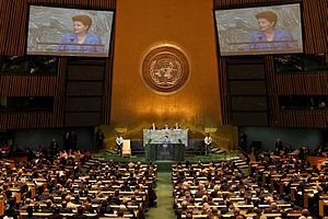 Brazil and the United Nations - President Dilma Rousseff delivers the opening speech at the 66th Session of the General Assembly on September 21, 2011, marking the first time a woman opens a United Nations session.
