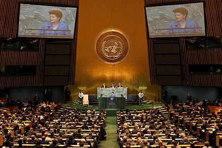 Brazilian President Dilma Rousseff delivers the opening speech at the 66th Session of the General Assembly on 21 September 2011, marking the first time a woman opened a United Nations session Rousseff UN General Debate.jpg
