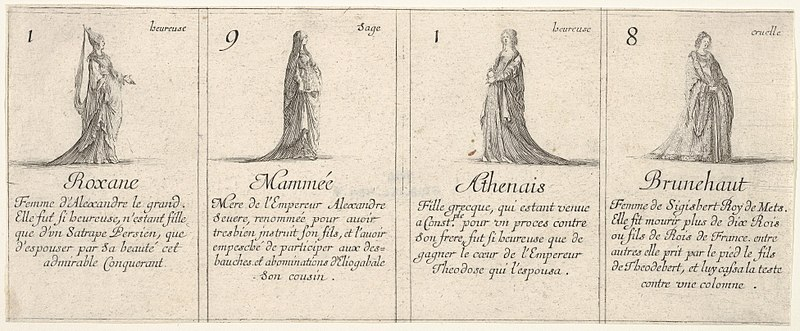 File:Roxane, Mammée, Athenais, and Brunehaut, from 'The game of queens' (Le jeu des Reines renommées) MET DP833247.jpg