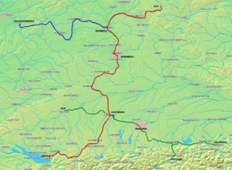 Bavarian Maximilian Railway - The three Bavarian main lines. The Ludwig South-North Railway is shown in red, the Ludwig Western Railway is shown in blue, and the Maximilian Railway in green