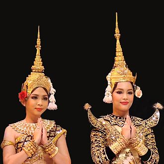 Makuṭa - Royal ballet of Cambodia dancers wearing mokot ksatrey (left) and mokot ksat (right)