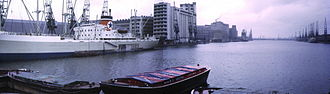Royal Victoria Dock - Looking west from Connaught Road swing bridge in 1973