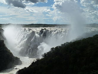 Ruacana Falls - Ruacana Falls at High Water from distance, in 03/2011. Author: Tom Jakobi