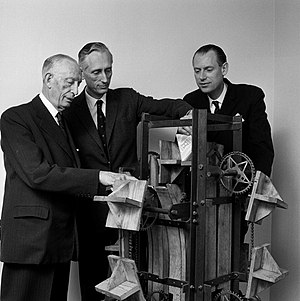 Gad Rausing - Ruben, Gad and Hans Rausing with the first Tetra Pak filling machine prototype, 1967