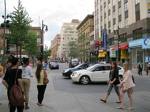 Rue Sainte-Catherine Montreal 02 - By Jeangagnon (Own work) [CC-BY-SA-3.0 (http://creativecommons.org/licenses/by-sa/3.0)], via Wikimedia Commons