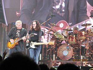 Time Machine Tour - Rush playing at the Air Canada Centre in Toronto, July 17, 2010. (From left to right: Lifeson, Lee, and Peart)