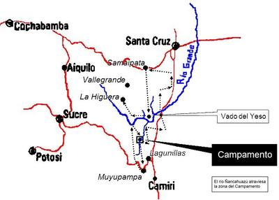 """""""La ruta del Che"""". La línea punteada señala el camino del grupo guerrillero dirigido por Guevara hasta el lugar en que fue fusilado. Hoy es un circuito de memoria y turístico."""