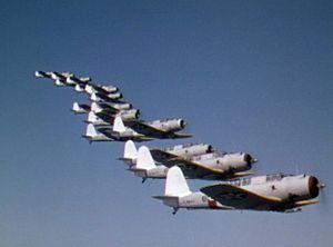 Dive Bomber (film) - Vought SB2U Vindicators of VB-3 in formation, as seen in the opening scenes
