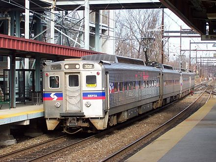 SEPTA Regional Rail train at Fern Rock Transportation Center SEPTA GE Silverliner IV 308.jpg