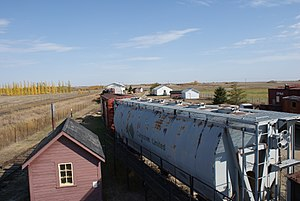 Canpotex - Canpotex potash railway car on display at the Saskatchewan Railway Museum.
